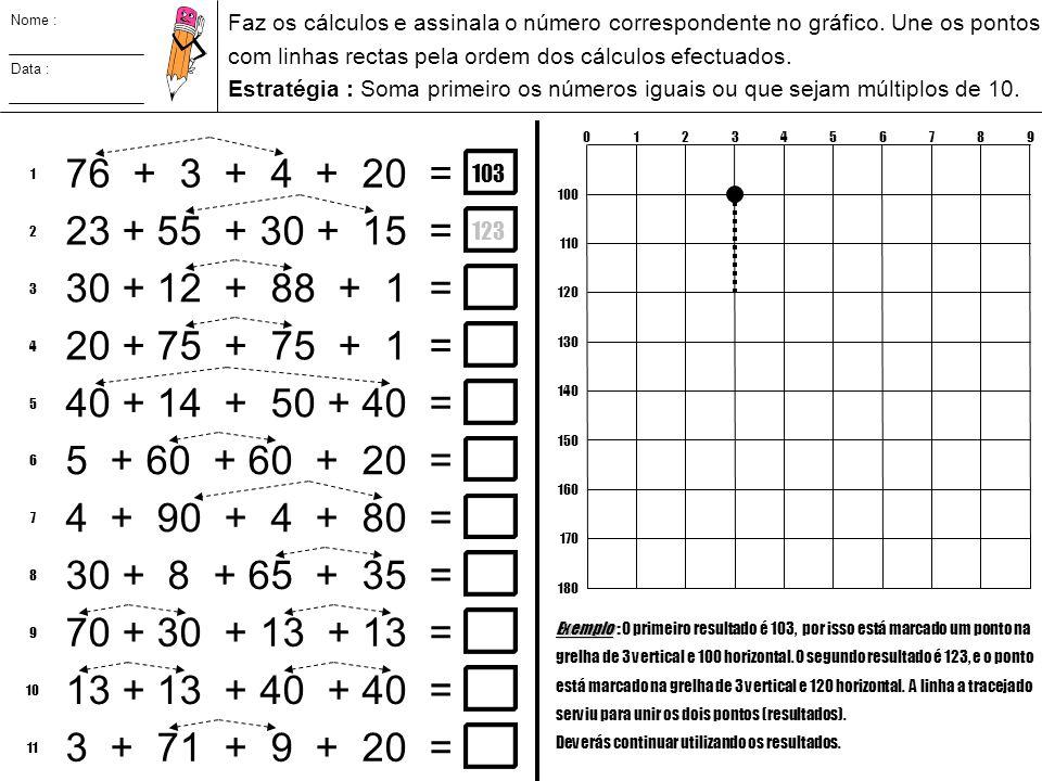Nome : Data : Faz os cálculos e assinala o número correspondente no gráfico. Une os pontos com linhas rectas pela ordem dos cálculos efectuados. Estra