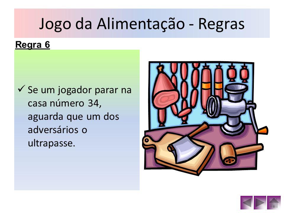 Jogo da Alimentação - Regras Se um jogador parar na casa número 34, aguarda que um dos adversários o ultrapasse. Regra 6