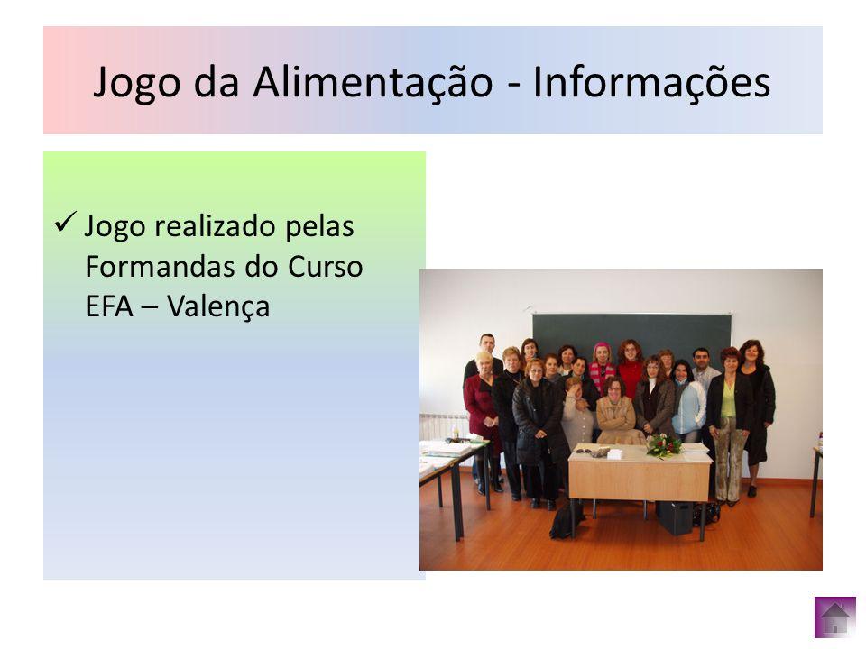 Jogo da Alimentação - Informações Jogo realizado pelas Formandas do Curso EFA – Valença