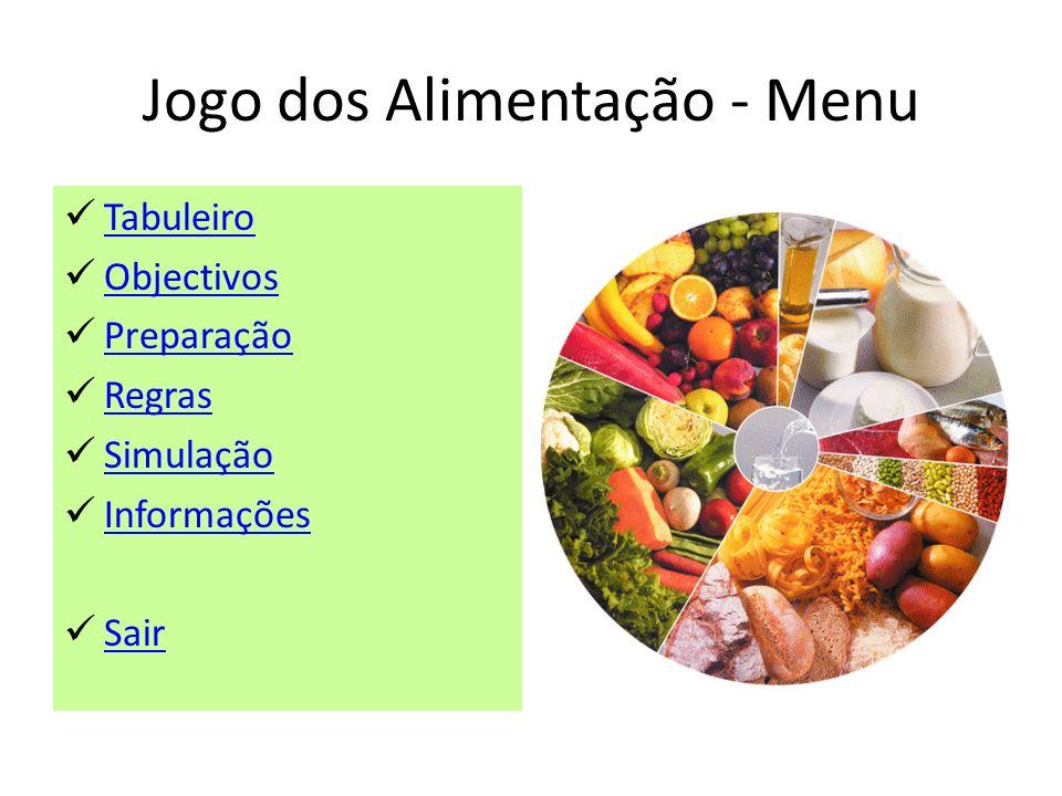 Jogo dos Alimentação - Menu Tabuleiro Objectivos Preparação Regras Simulação Informações Sair