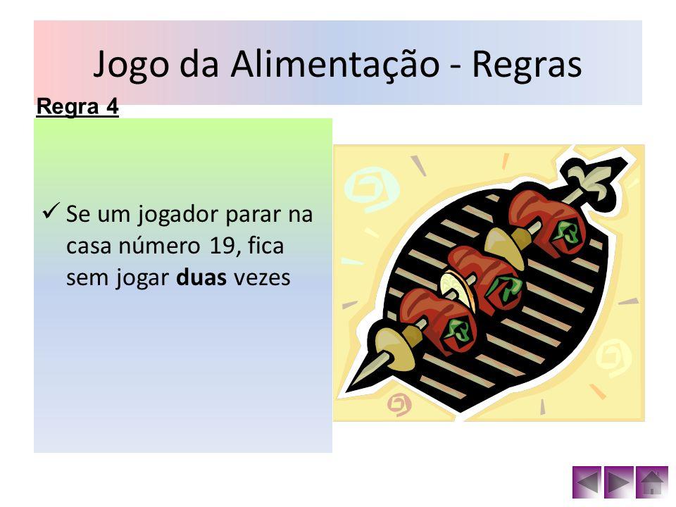 Jogo da Alimentação - Regras Se um jogador parar na casa número 26, lança o dado novamente.