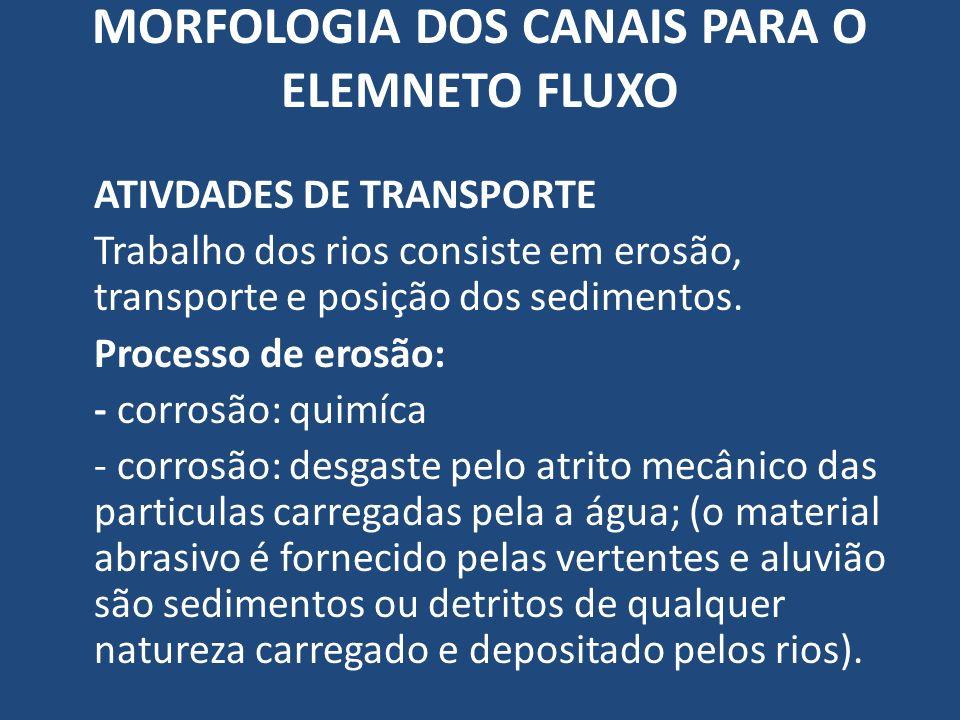 MORFOLOGIA DOS CANAIS PARA O ELEMNETO FLUXO ATIVDADES DE TRANSPORTE Trabalho dos rios consiste em erosão, transporte e posição dos sedimentos. Process