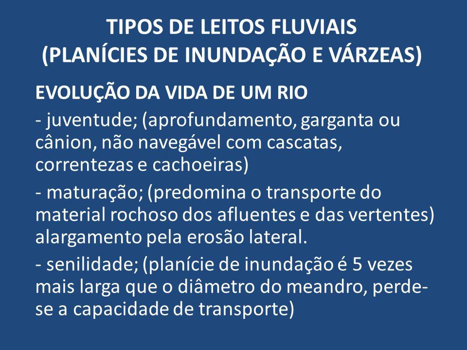 TIPOS DE LEITOS FLUVIAIS (PLANÍCIES DE INUNDAÇÃO E VÁRZEAS) EVOLUÇÃO DA VIDA DE UM RIO - juventude; (aprofundamento, garganta ou cânion, não navegável