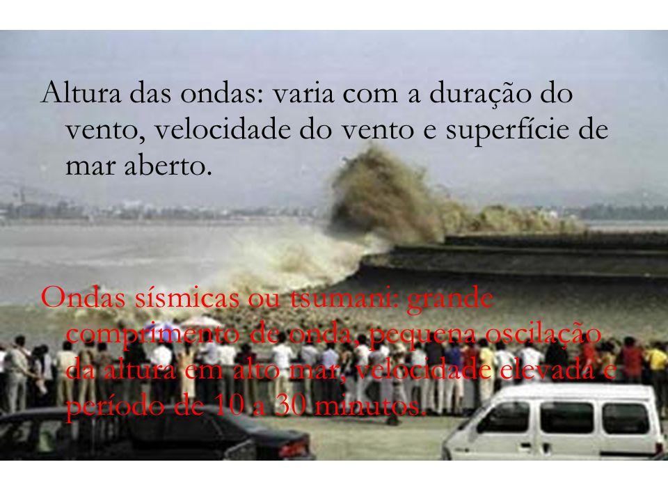 Altura das ondas: varia com a duração do vento, velocidade do vento e superfície de mar aberto. Ondas sísmicas ou tsumani: grande comprimento de onda,