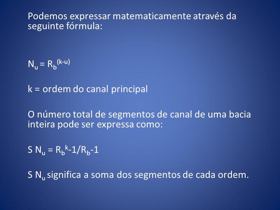 Podemos expressar matematicamente através da seguinte fórmula: N u = R b (k-u) k = ordem do canal principal O número total de segmentos de canal de um