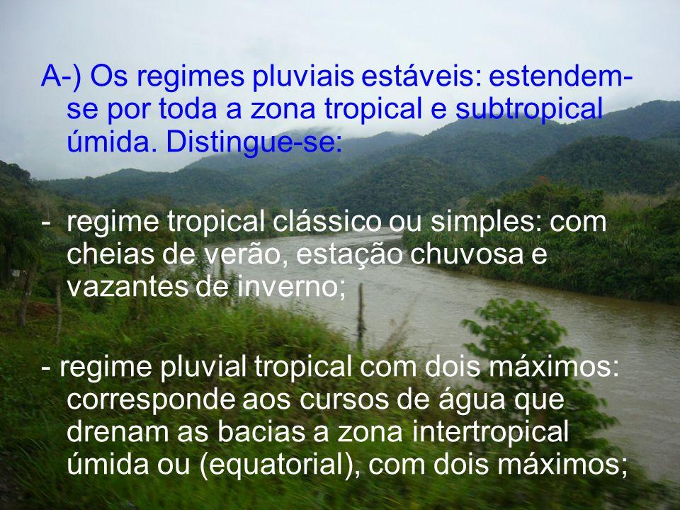 A-) Os regimes pluviais estáveis: estendem- se por toda a zona tropical e subtropical úmida. Distingue-se: -regime tropical clássico ou simples: com c