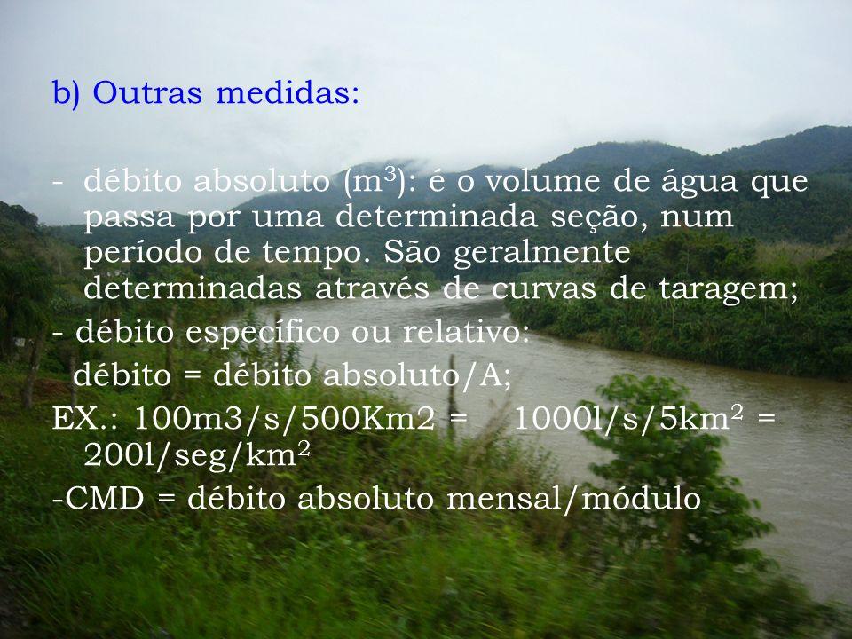 b) Outras medidas: -débito absoluto (m 3 ): é o volume de água que passa por uma determinada seção, num período de tempo. São geralmente determinadas