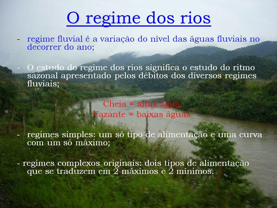 -regime fluvial é a variação do nível das águas fluviais no decorrer do ano; -O estudo do regime dos rios significa o estudo do ritmo sazonal apresent