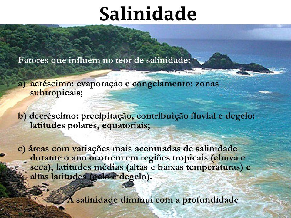 Salinidade Fatores que influem no teor de salinidade: a)acréscimo: evaporação e congelamento: zonas subtropicais; b) decréscimo: precipitação, contrib