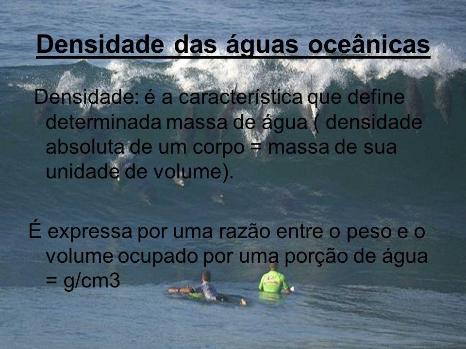 Densidade das águas oceânicas Densidade: é a característica que define determinada massa de água ( densidade absoluta de um corpo = massa de sua unida