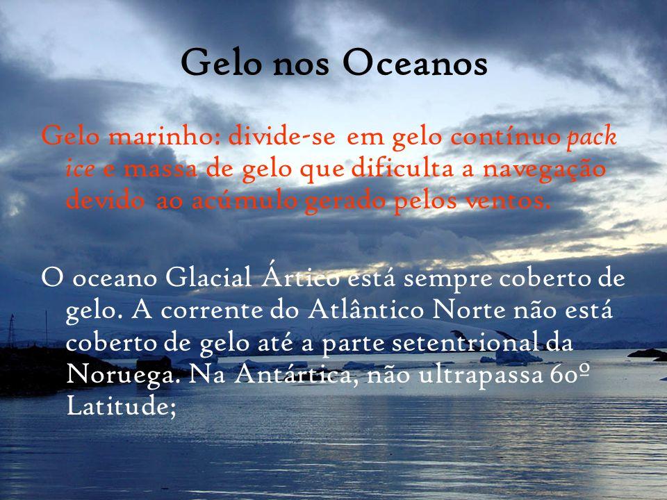 Gelo nos Oceanos Gelo marinho: divide-se em gelo contínuo pack ice e massa de gelo que dificulta a navegação devido ao acúmulo gerado pelos ventos. O