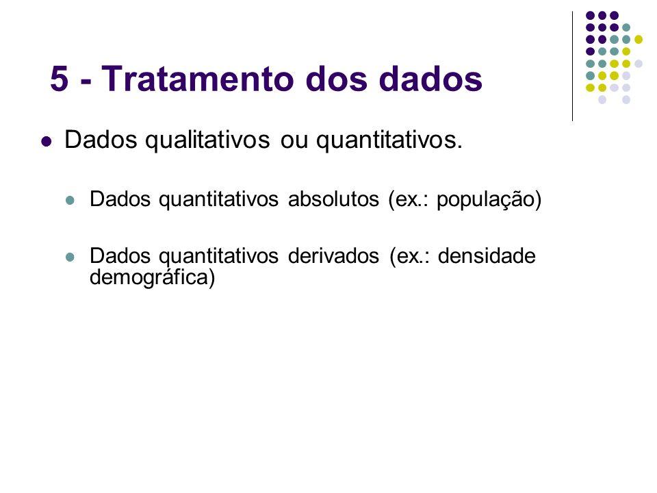 5 - Tratamento dos dados Dados qualitativos ou quantitativos. Dados quantitativos absolutos (ex.: população) Dados quantitativos derivados (ex.: densi