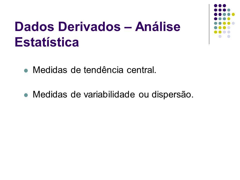 Dados Derivados – Análise Estatística Medidas de tendência central. Medidas de variabilidade ou dispersão.