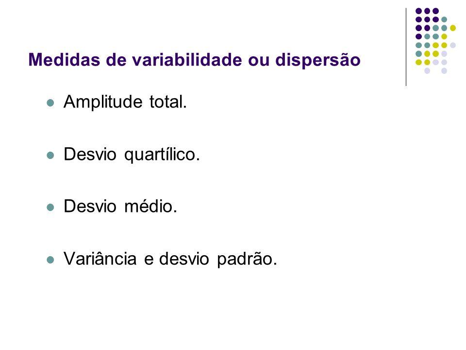 Amplitude total. Desvio quartílico. Desvio médio. Variância e desvio padrão. Medidas de variabilidade ou dispersão