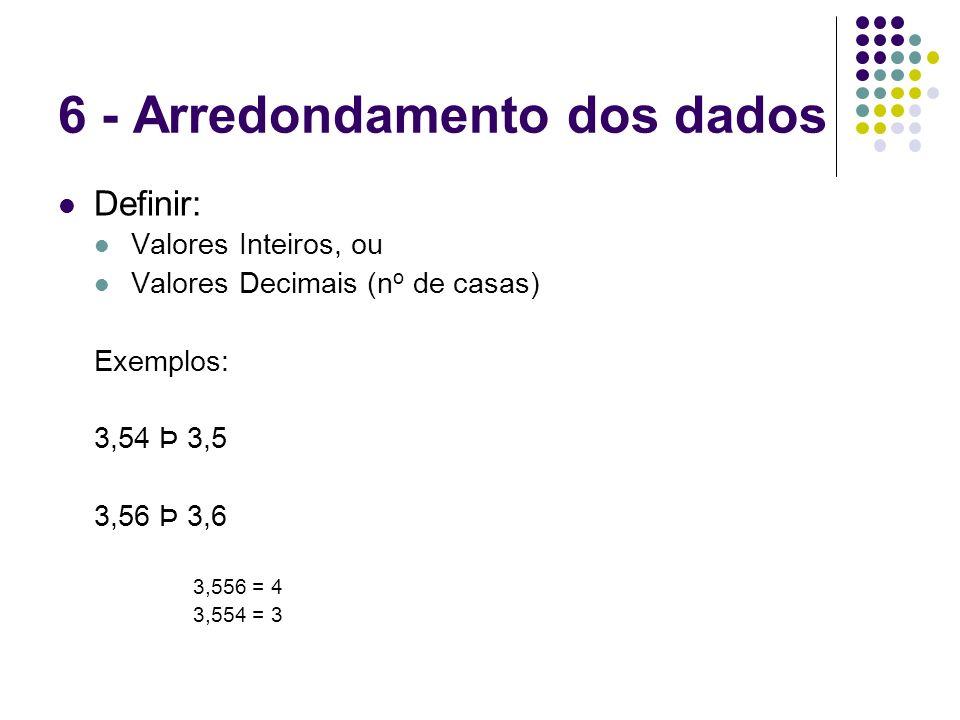 6 - Arredondamento dos dados Definir: Valores Inteiros, ou Valores Decimais (n o de casas) Exemplos: 3,54 Þ 3,5 3,56 Þ 3,6 3,556 = 4 3,554 = 3