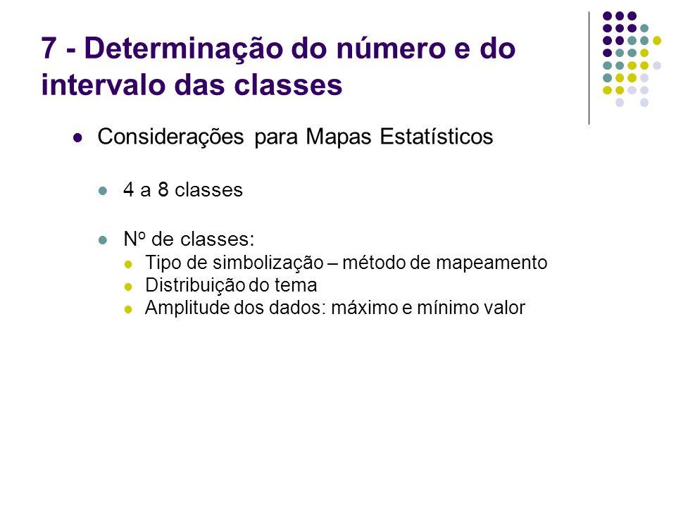 7 - Determinação do número e do intervalo das classes Considerações para Mapas Estatísticos 4 a 8 classes N o de classes: Tipo de simbolização – métod
