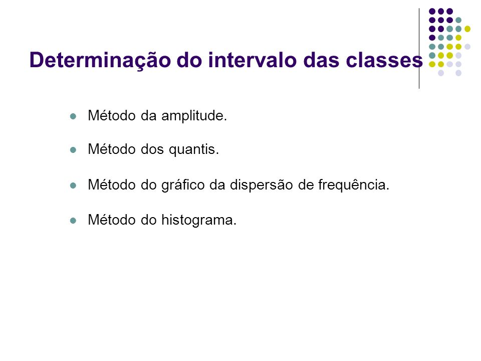 Determinação do intervalo das classes Método da amplitude. Método dos quantis. Método do gráfico da dispersão de frequência. Método do histograma.