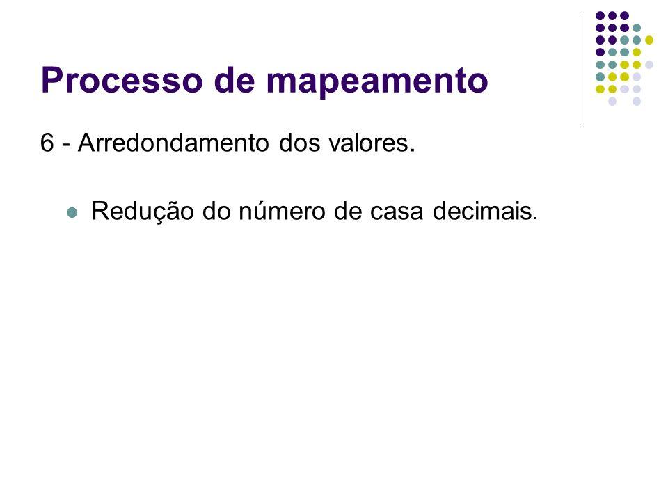 Processo de mapeamento 6 - Arredondamento dos valores. Redução do número de casa decimais.