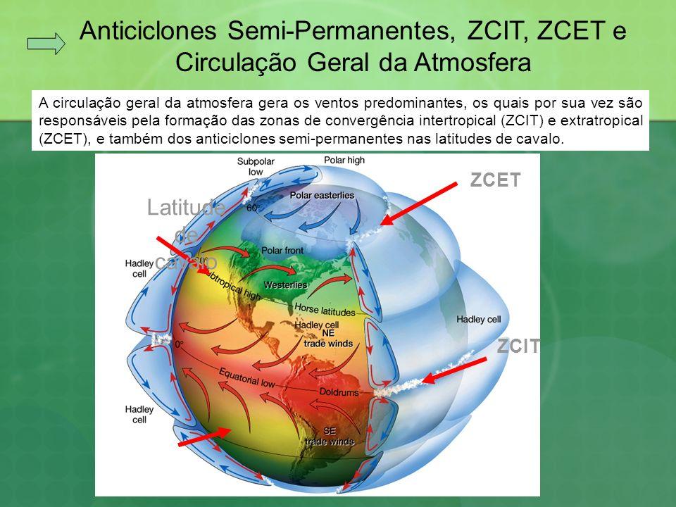 Anticiclones Semi- Permanentes Na ZCIT os ventos alíseos de SE (HS) e de NE (HN) se encontram formando áreas de baixa pressão (L), que mostram a posição do Equador Térmico, o que favorece a formação de nuvens e chuvas.