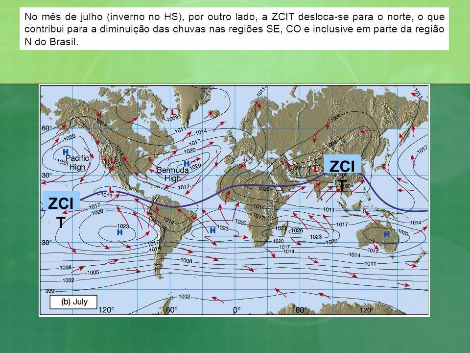 No mês de julho (inverno no HS), por outro lado, a ZCIT desloca-se para o norte, o que contribui para a diminuição das chuvas nas regiões SE, CO e inc