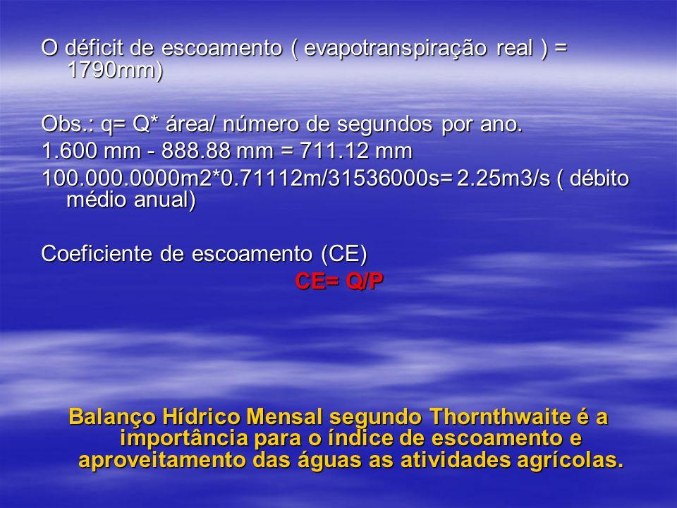 O déficit de escoamento ( evapotranspiração real ) = 1790mm) Obs.: q= Q* área/ número de segundos por ano. 1.600 mm - 888.88 mm = 711.12 mm 100.000.00