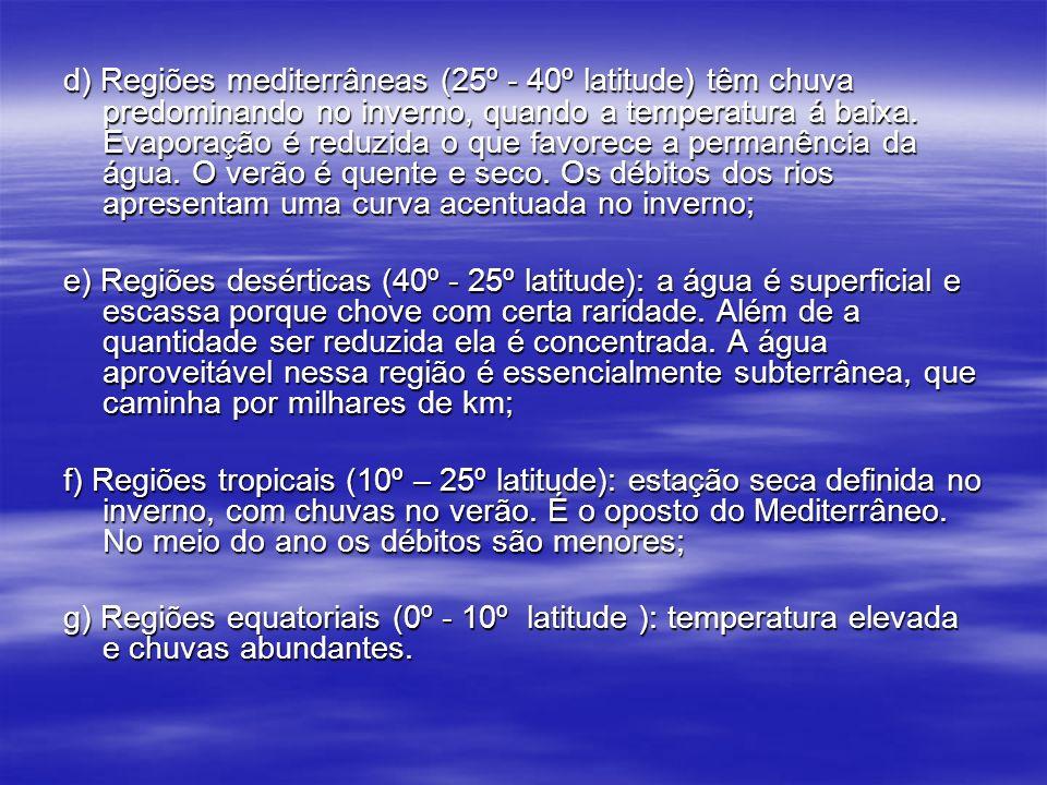 d) Regiões mediterrâneas (25º - 40º latitude) têm chuva predominando no inverno, quando a temperatura á baixa. Evaporação é reduzida o que favorece a