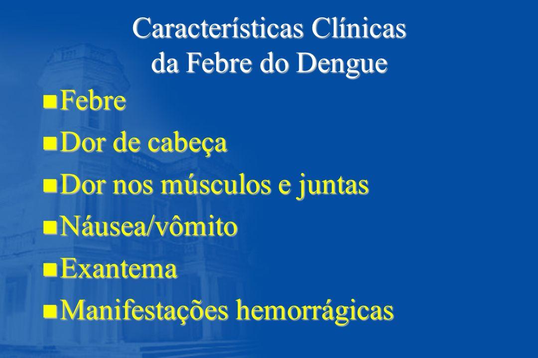 Características Clínicas da Febre do Dengue n Febre n Dor de cabeça n Dor nos músculos e juntas n Náusea/vômito n Exantema n Manifestações hemorrágica