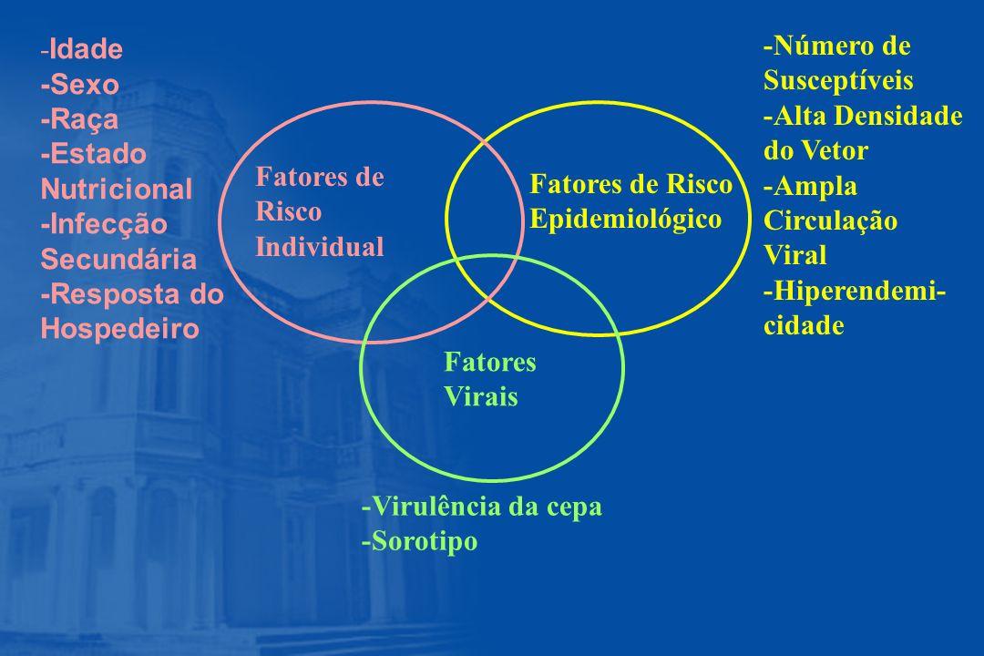 Fatores de Risco Individual Fatores de Risco Epidemiológico Fatores Virais - Idade -Sexo -Raça -Estado Nutricional -Infecção Secundária -Resposta do H