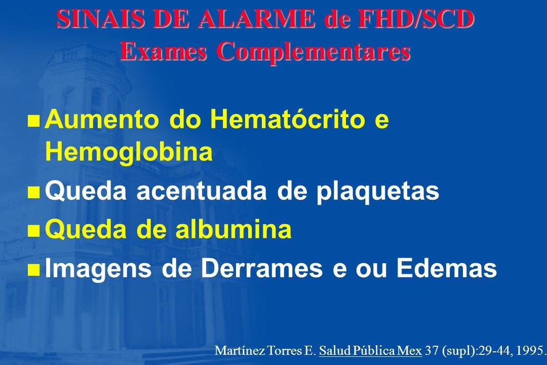 SINAIS DE ALARME de FHD/SCD Exames Complementares n n Aumento do Hematócrito e Hemoglobina n n Queda acentuada de plaquetas n n Queda de albumina n n