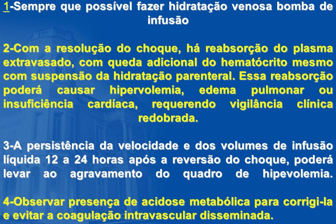 1-Sempre que possível fazer hidratação venosa bomba de infusão 2-Com a resolução do choque, há reabsorção do plasma extravasado, com queda adicional d