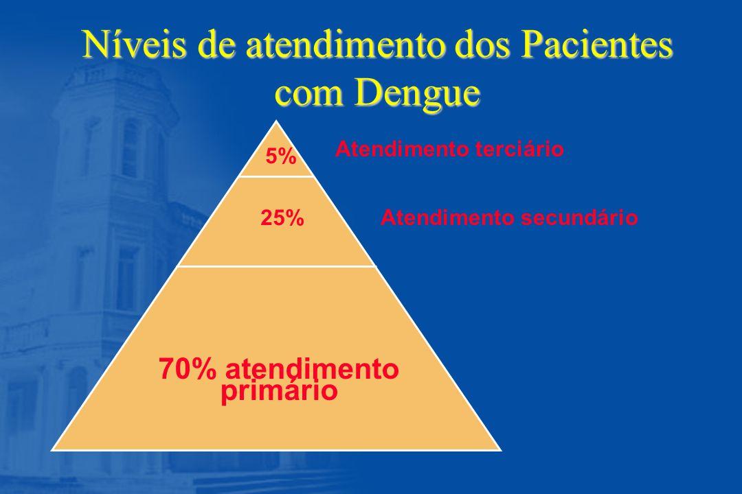 Níveis de atendimento dos Pacientes com Dengue 70% atendimento primário Atendimento secundário Atendimento terciário 5% 25%