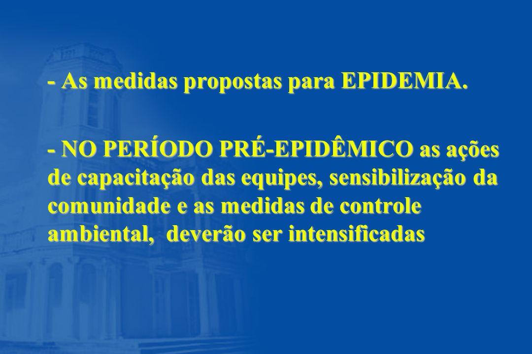 - As medidas propostas para EPIDEMIA. - NO PERÍODO PRÉ-EPIDÊMICO as ações de capacitação das equipes, sensibilização da comunidade e as medidas de con