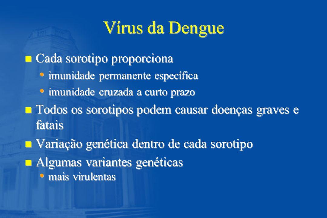 Dengue: Classificação da FHD, de acordo com o grau de gravidade (OMS) Grau I Grau II Grau III Grau IV Febre acompanhada de sintomas inespecíficos, com prova do laço positiva, como única manifestação hemorrágica Além das manifestações do Grau I, somam-se manifestações hemorrágicas leves (epistaxe, sangramentos da pele, engivorragia, petéquias e outros) Colapso circulatório c/ pulso fraco e rápido, estreitamento da pressão arterial ou hipotensão, pele pegajosa e fria, irritabilidade.