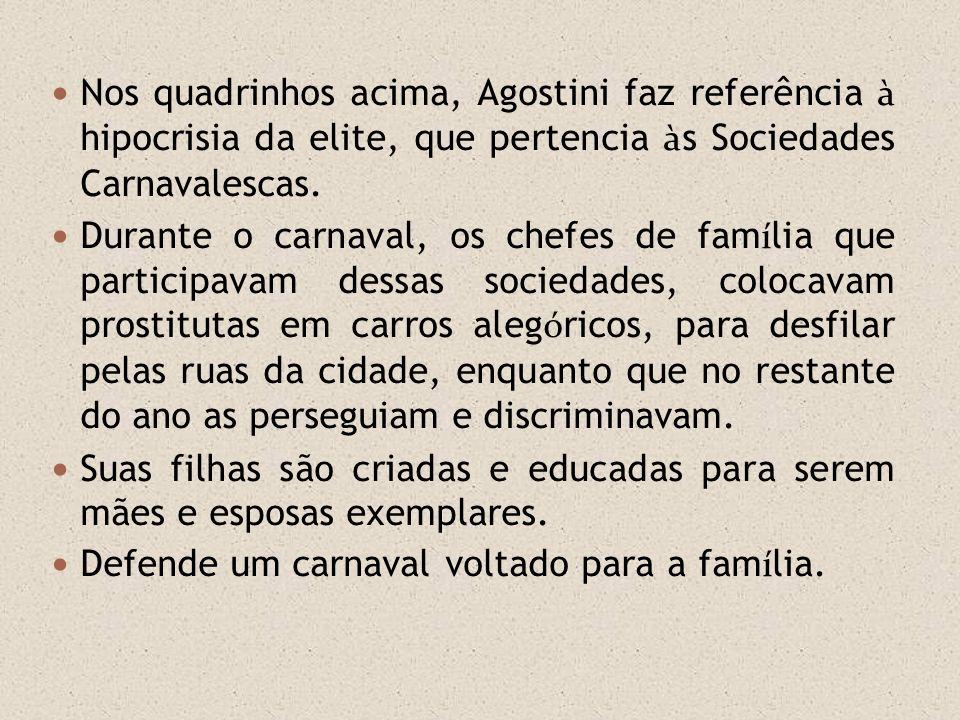 Nos quadrinhos acima, Agostini faz referência à hipocrisia da elite, que pertencia à s Sociedades Carnavalescas. Durante o carnaval, os chefes de fam