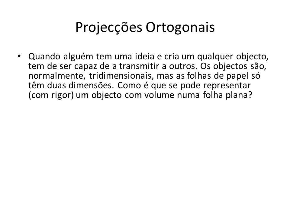 Planos de projecção Definiu-se um sistema de representação, baseado na projecção ortogonal da peça em três planos perpendiculares entre si: um plano vertical (PV), um horizontal (PH) e um de perfil (PP).