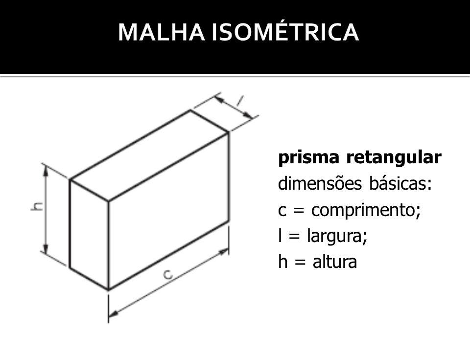 prisma retangular dimensões básicas: c = comprimento; l = largura; h = altura