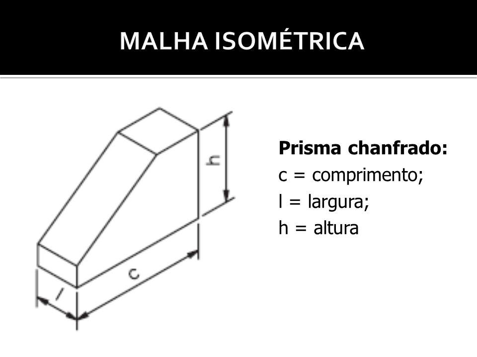 Prisma chanfrado: c = comprimento; l = largura; h = altura