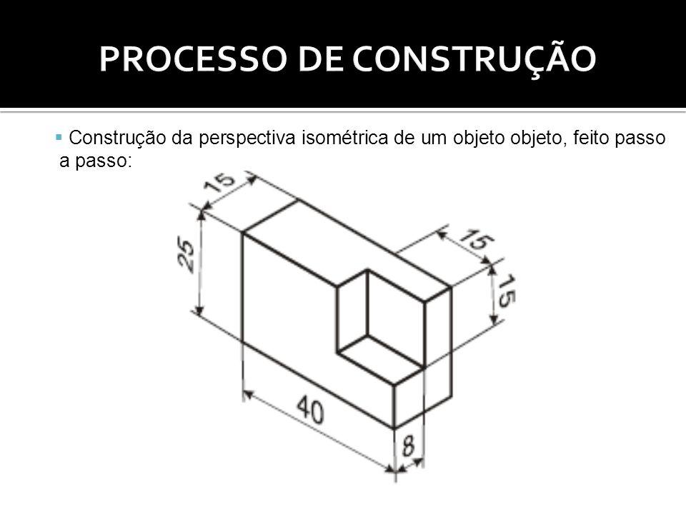 Construção da perspectiva isométrica de um objeto objeto, feito passo a passo: