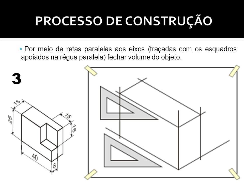 Por meio de retas paralelas aos eixos (traçadas com os esquadros apoiados na régua paralela) fechar volume do objeto. 3