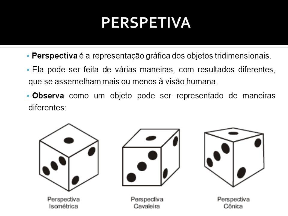 Perspectiva é a representação gráfica dos objetos tridimensionais. Ela pode ser feita de várias maneiras, com resultados diferentes, que se assemelham
