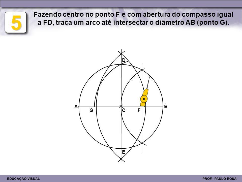E D BA FG H 6 Fazendo centro em D, transporta a distância DG para a circunferência, obtendo assim a sua 5ª parte (DH).