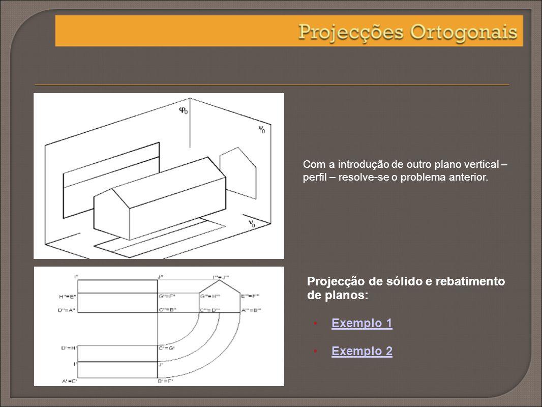 Com a introdução de outro plano vertical – perfil – resolve-se o problema anterior. Projecção de sólido e rebatimento de planos: Exemplo 1 Exemplo 2