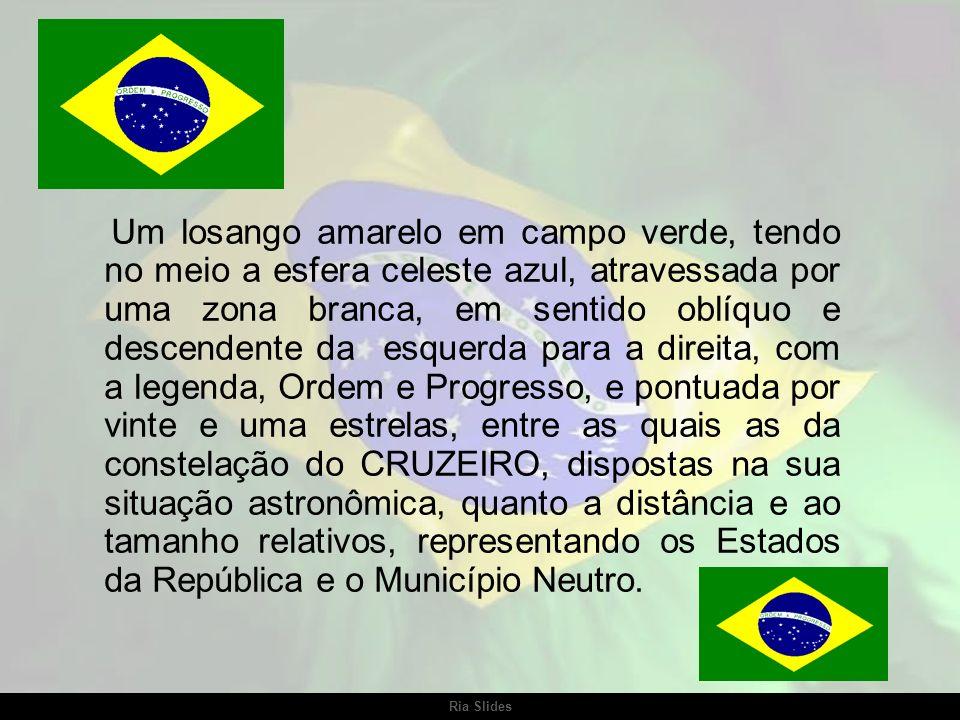 Ria Slides A bandeira atual do Brasil adotada pela República mantém a tradição das antigas cores nacionais, verde e amarelo, do seguinte modo: Bandeir