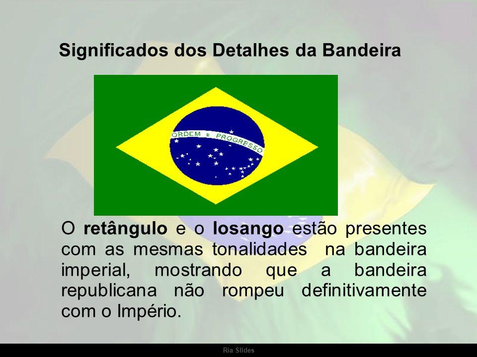 Ria Slides A Bandeira Nacional foi adotada por decreto (redigido por Rui Barbosa) em 19 de novembro de 1889, sendo alterada (a esfera celeste) sempre
