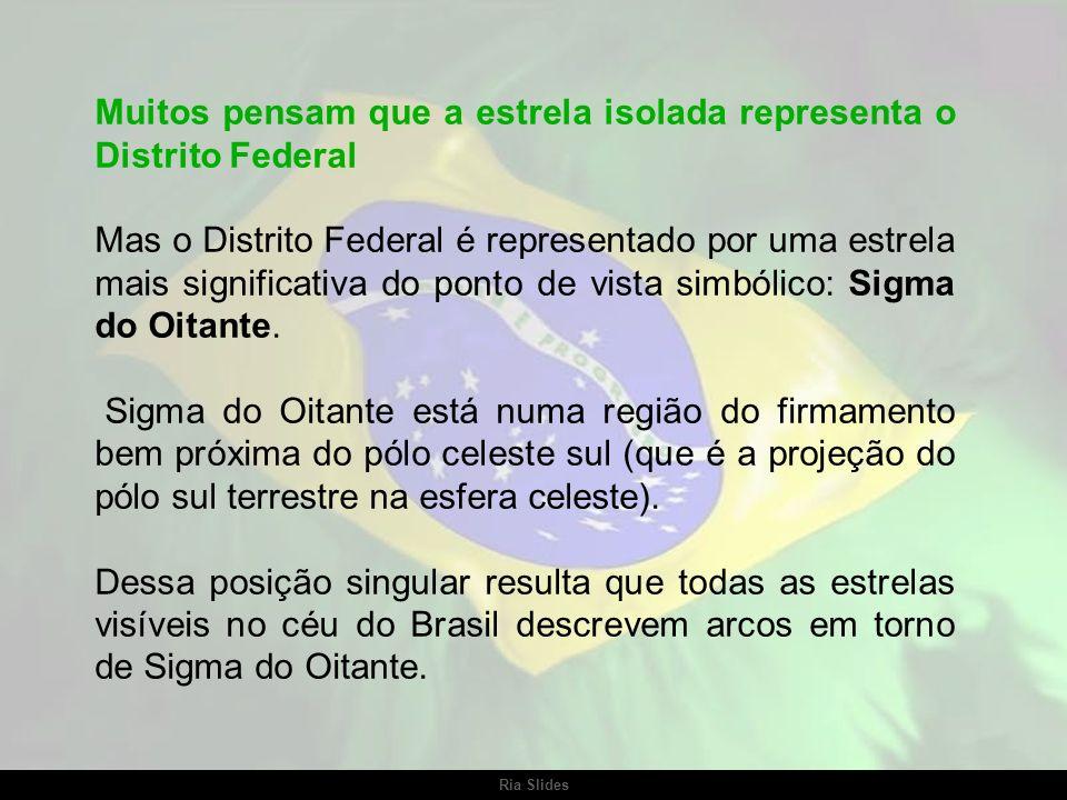Ria Slides Sua posição na bandeira revela a extensão territorial do Brasil. nenhum outro país do mundo, com dimensão geográfica semelhante,ocupa parte