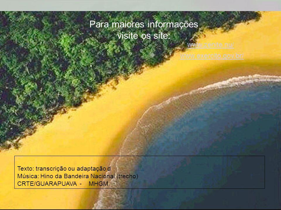 Ria Slides Contemplando o teu vulto sagrado, Compreendemos o nosso dever E o Brasil, por seus filhos amado, Poderoso e feliz há de ser! Recebe o afeto