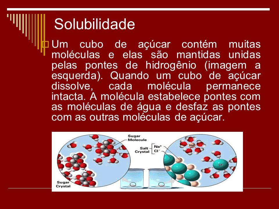Solubilidade Um cubo de açúcar contém muitas moléculas e elas são mantidas unidas pelas pontes de hidrogênio (imagem a esquerda). Quando um cubo de aç