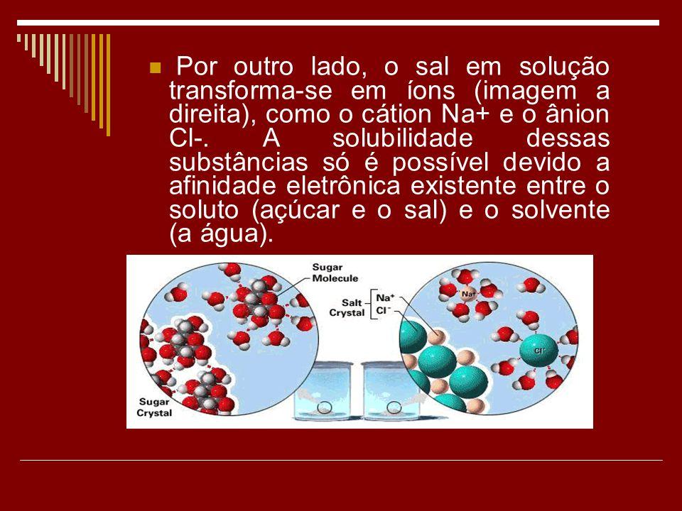 Por outro lado, o sal em solução transforma-se em íons (imagem a direita), como o cátion Na+ e o ânion Cl-. A solubilidade dessas substâncias só é pos