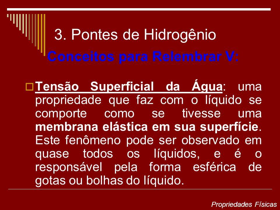 3. Pontes de Hidrogênio Conceitos para Relembrar V: Tensão Superficial da Água: uma propriedade que faz com o líquido se comporte como se tivesse uma