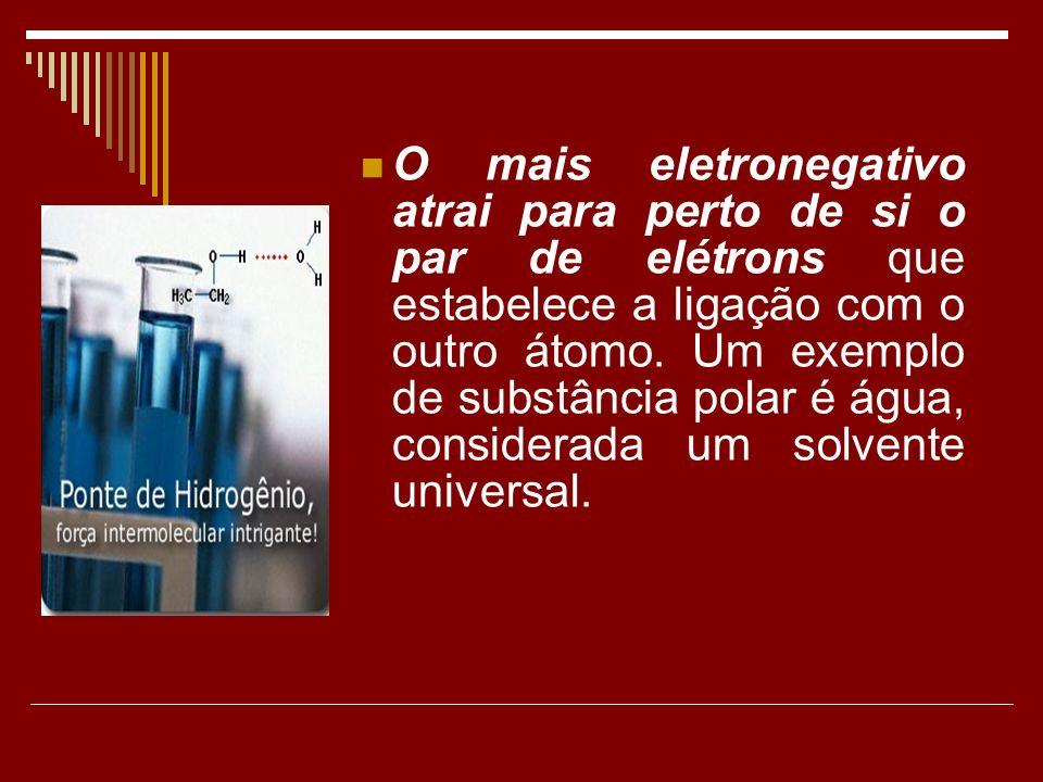 O mais eletronegativo atrai para perto de si o par de elétrons que estabelece a ligação com o outro átomo. Um exemplo de substância polar é água, cons